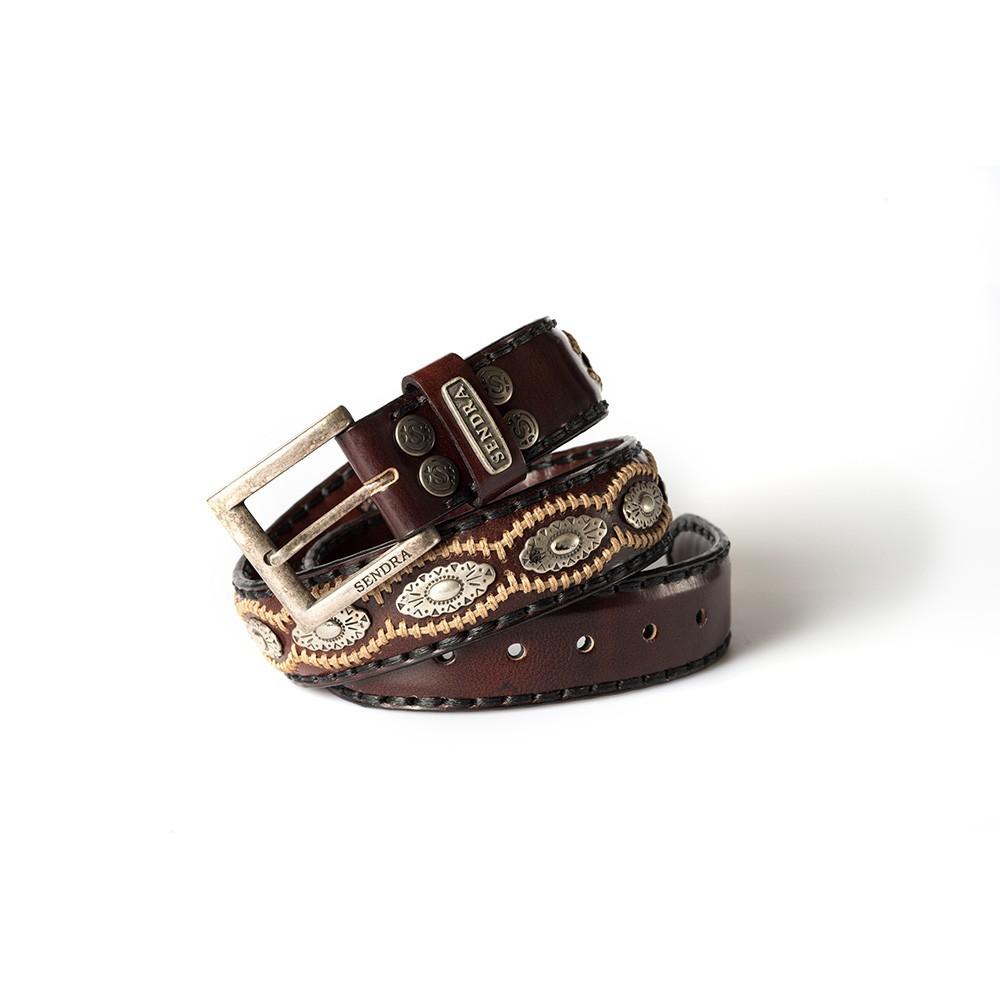 Compra en Noel Western Boots este cinturón Sendra Western de cuero y metal plata y marrón modelo 7606 con envíos gratis a la península 54930 - __[GALLERYITEM]__