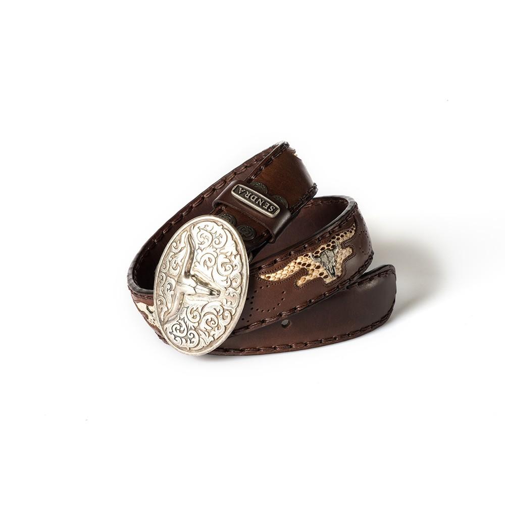 Compra en Noel Western Boots este cinturón Sendra Western de cuero y metal plata y marrón modelo 8322 con envíos gratis a la península 54970 - __[GALLERYITEM]__
