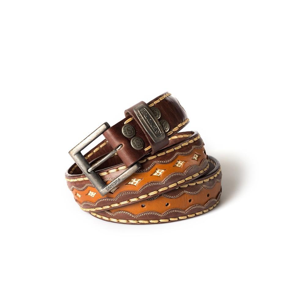 Compra en Noel Western Boots este cinturón Sendra Western de cuero marrón y color cuero modelo 7576 con envíos gratis a la península 55234 - __[GALLERYITEM]__