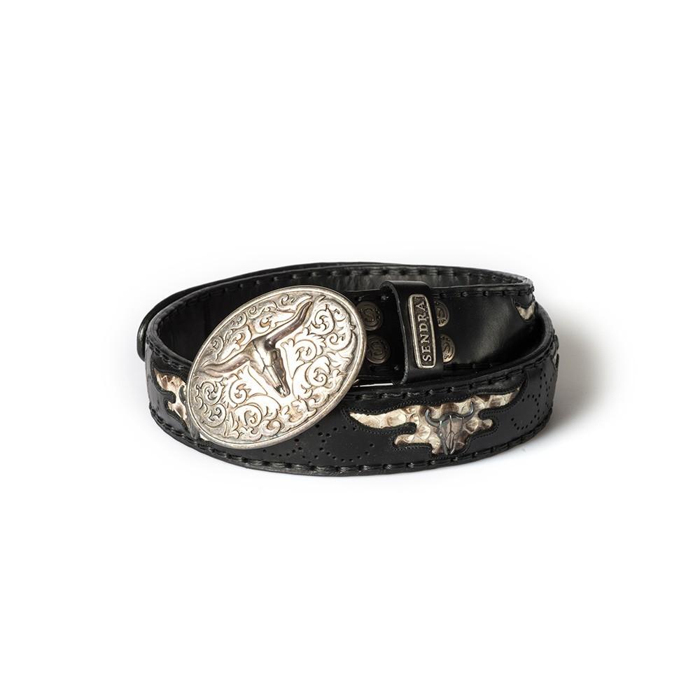 Compra en Noel Western Boots este cinturón Sendra Western de cuero y metal plata y negro modelo 8322 con envíos gratis a la península 55302 - __[GALLERYITEM]__