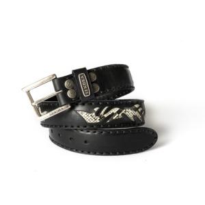 Compra en Noel Western Boots este cinturón Sendra Western de cuero y piel de serpiente negro y beige modelo 8323 con envíos gratis a la península 55424