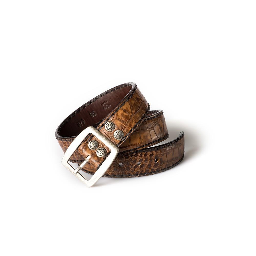 Compra en Noel Western Boots este cinturón Sendra Western de cuero con aspecto reptil marrón oscuro modelo 879 con envíos gratis a la península 55723 - __[GALLERYITEM]__