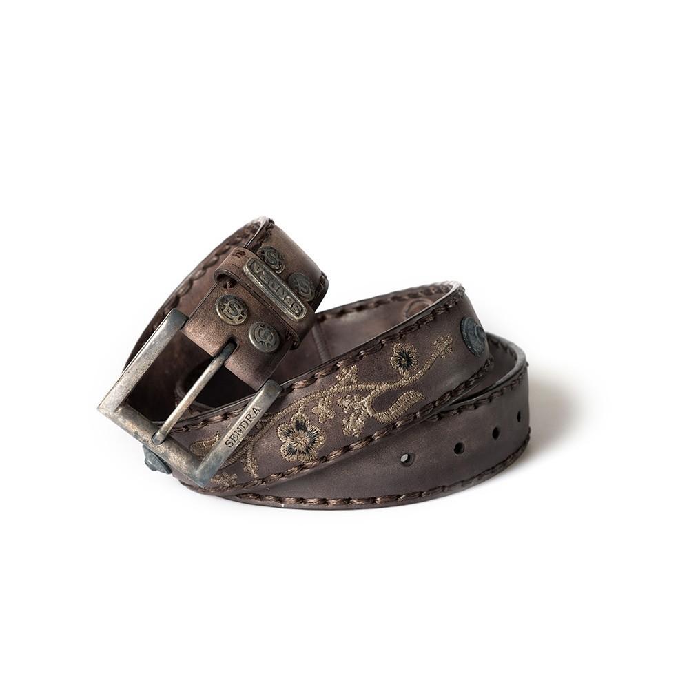 Compra en Noel Western Boots este cinturón Sendra Western de cuero olimpia marrón bordado de flores modelo 1063 con envíos gratis a la península 55730 - __[GALLERYITEM]__