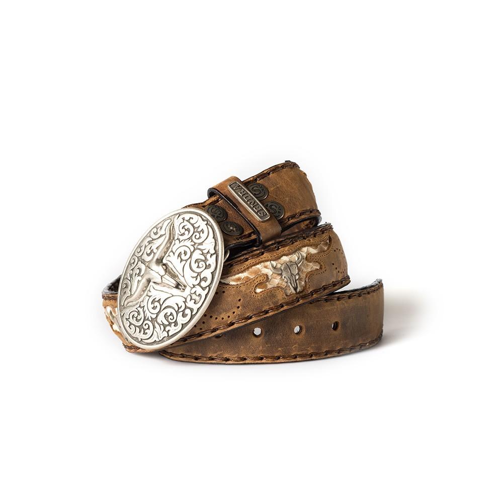 Compra en Noel Western Boots este cinturón Sendra Western de cuero y metal plata y camel modelo 8322 con envíos gratis a la península 55302 - __[GALLERYITEM]__
