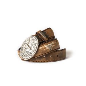 Compra en Noel Western Boots este cinturón Sendra Western de cuero y metal plata y camel modelo 8322 con envíos gratis a la península 55302