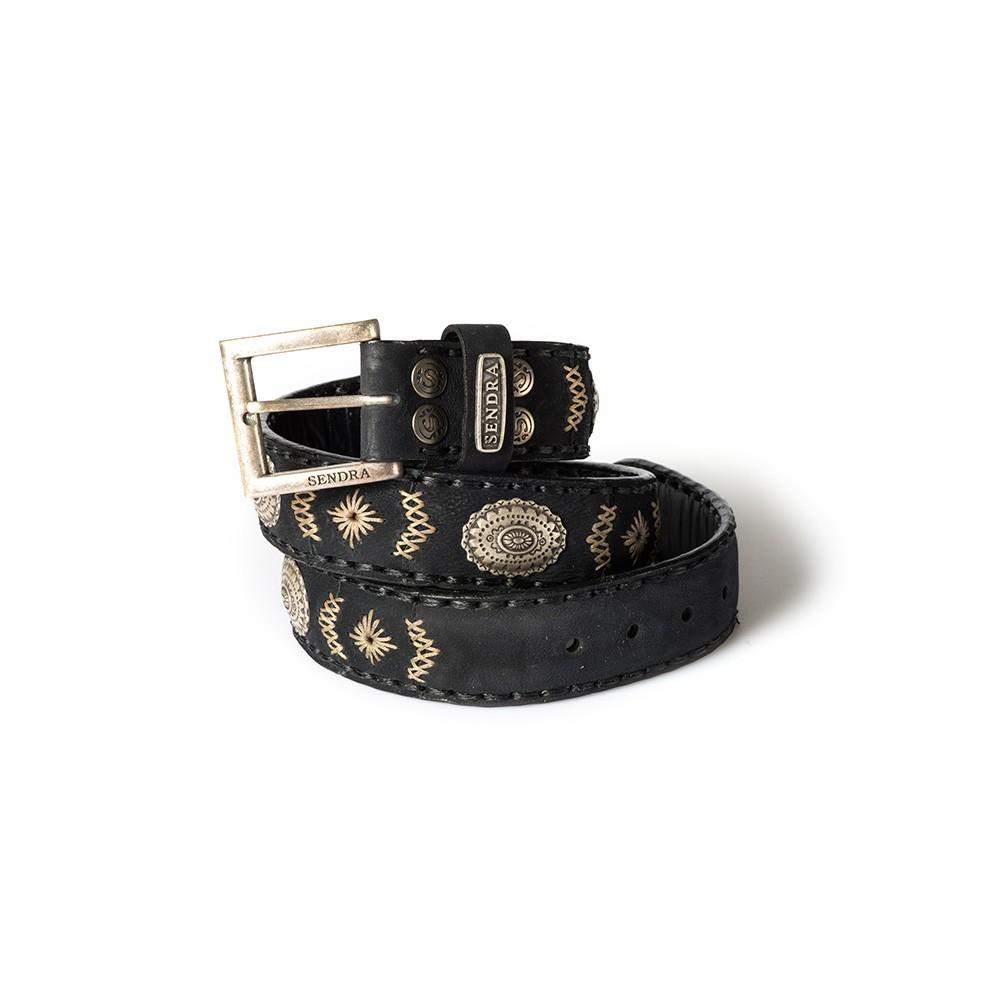 Compra en Noel Western Boots este cinturón Sendra Western de cuero y metal plata y negro modelo 8535 con envíos gratis a la península 55835 - __[GALLERYITEM]__