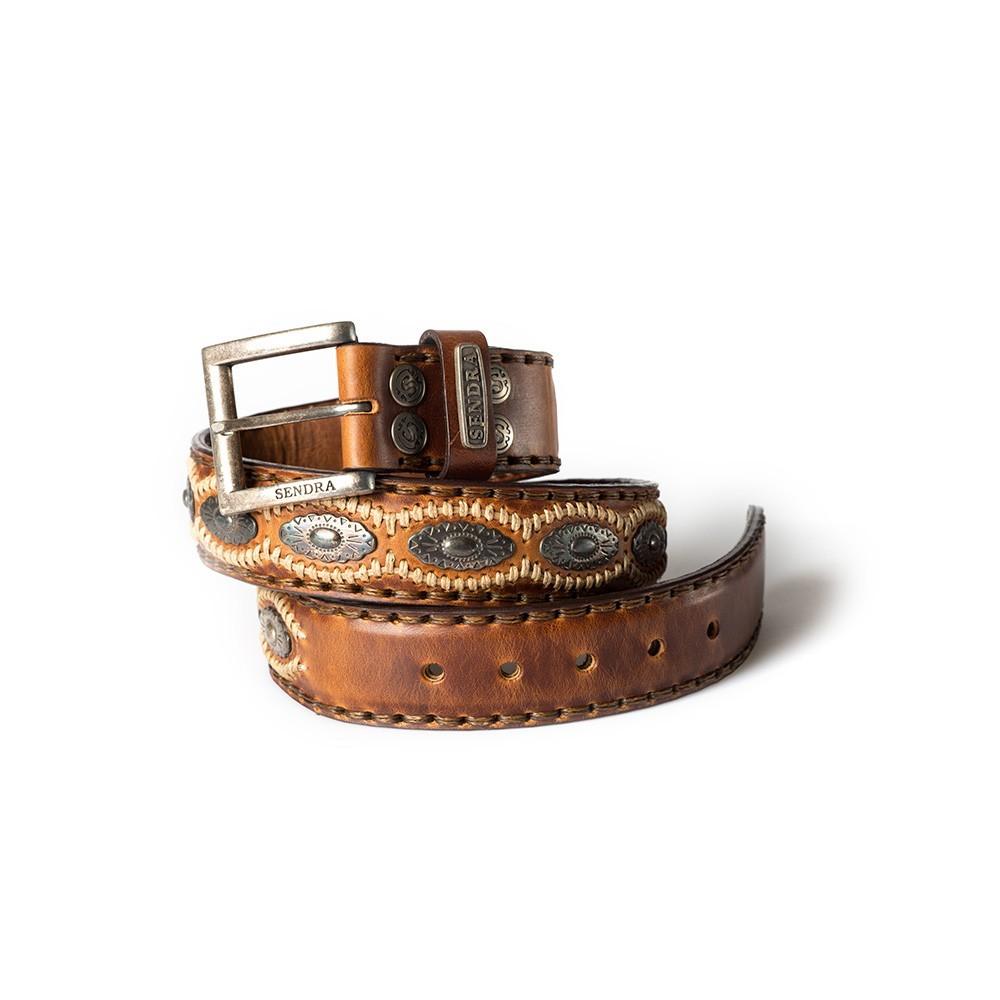 Compra en Noel Western Boots este cinturón Sendra Western de cuero y metal plata y camel modelo 7606 con envíos gratis a la península 55836 - __[GALLERYITEM]__