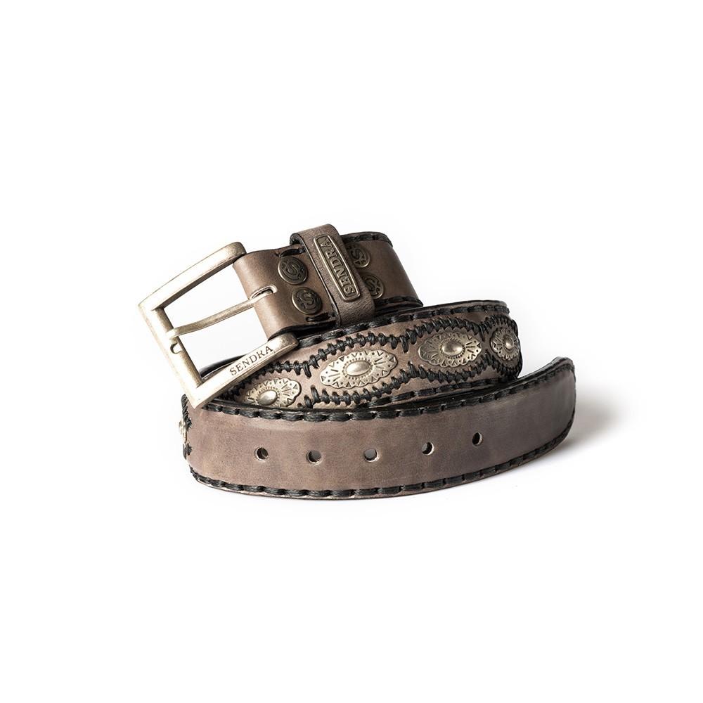 Compra en Noel Western Boots este cinturón Sendra Western de cuero y metal plata y antracita modelo 7606 con envíos gratis a la península 55837 - __[GALLERYITEM]__