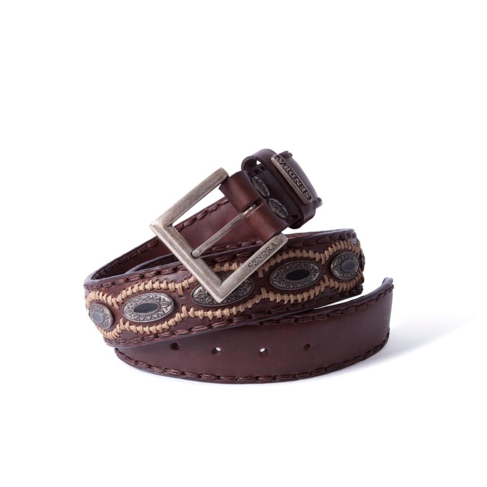 Compra en Noel Western Boots este cinturón Sendra Western de cuero marron con piezas de metal y piedra negra modelo 7612 con envíos gratis a la península 55842 - __[GALLERYITEM]__