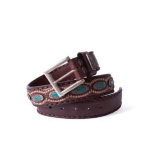 Compra en Noel Western Boots este cinturón Sendra Western de cuero marron con piezas de metal y piedra turquesa modelo 7612 con envíos gratis a la península 55843
