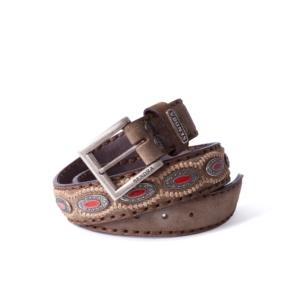 Compra en Noel Western Boots este cinturón Sendra Western de serraje marron con piezas de metal y piedra coral modelo 7612 con envíos gratis a la península 55844
