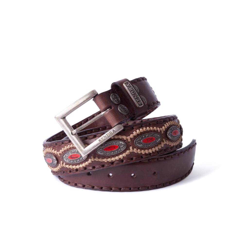 Compra en Noel Western Boots este cinturón Sendra Western de cuero marron con piezas de metal y piedra coral modelo 7612 con envíos gratis a la península 55845 - __[GALLERYITEM]__