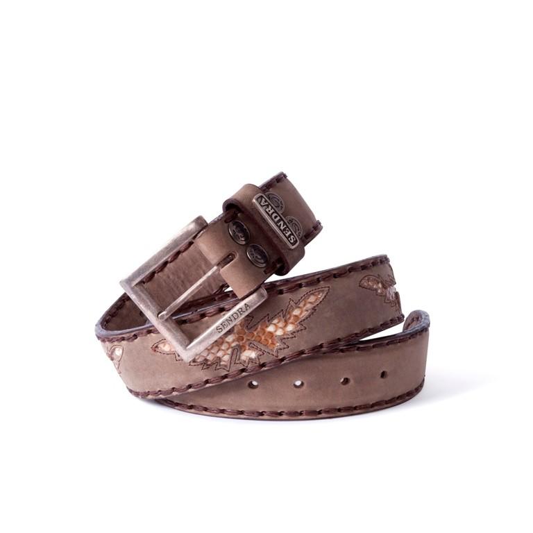 Compra en Noel Western Boots este cinturón Sendra Western en cuero dark taupe águila piel serpiente pitón modelo 1163 con envíos gratis a la península 55850 - __[GALLERYITEM]__
