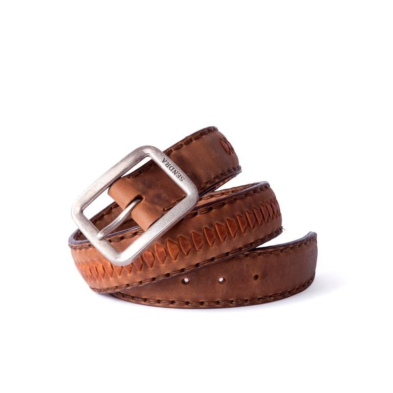 Compra en Noel Western Boots este cinturón Sendra Western en cuero marrón con decoraciones en cuero trenzado modelo 1018 con envíos gratis a la península 55852 - __[GALLERYITEM]__