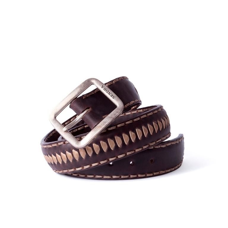 Compra en Noel Western Boots este cinturón Sendra Western en cuero marrón con decoraciones en cuero trenzado beige modelo 1018 con envíos gratis a la península 55853 - __[GALLERYITEM]__