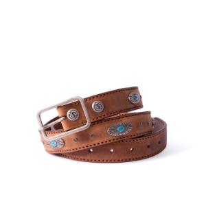 Compra en Noel Western Boots este cinturón Sendra Western en cuero marrón con decoraciones turquesa y brillantes modelo 1156 con envíos gratis a la península 55855