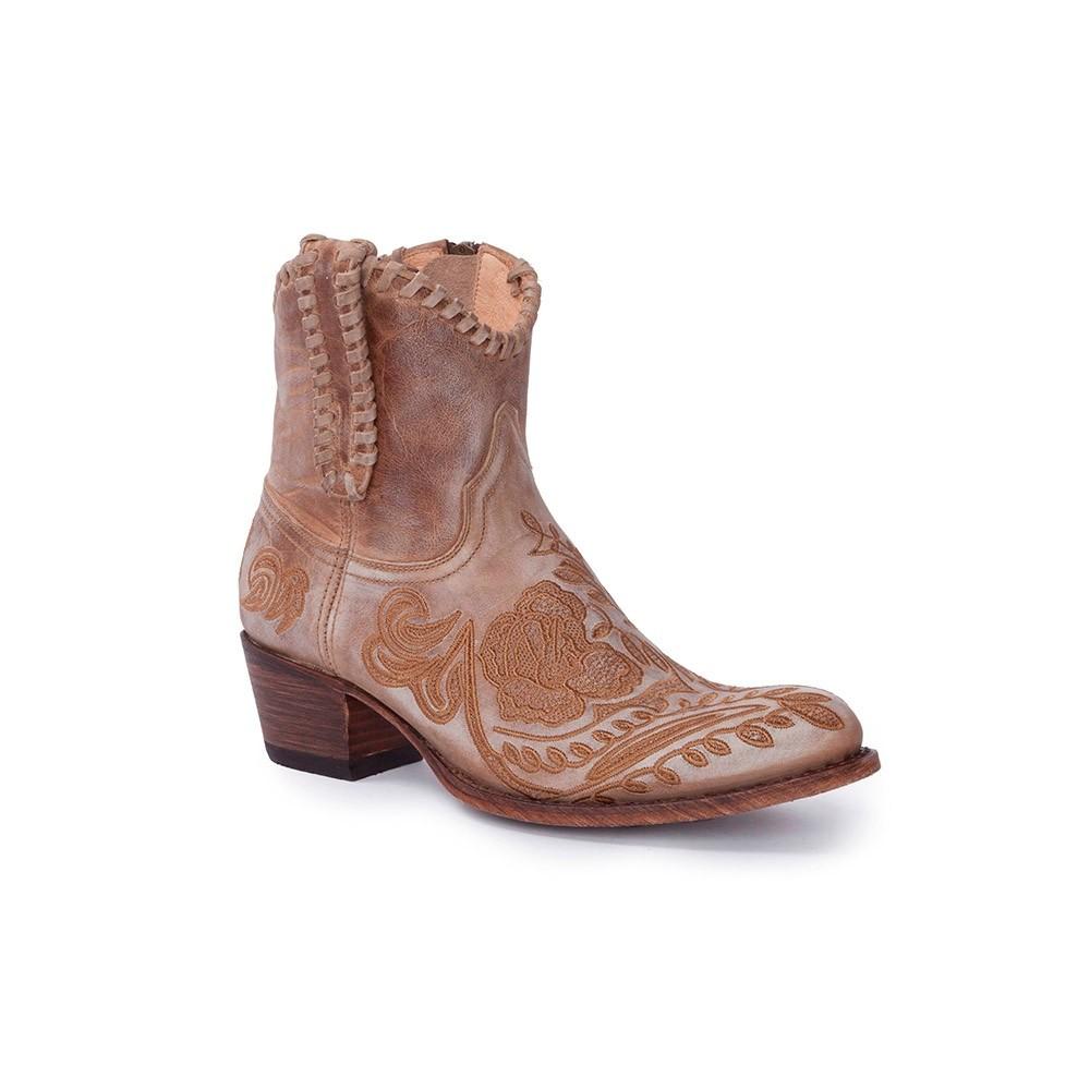 Compra en Noel Western Boots estos Botines Sendra moda para Mujer en cuero beige con bordados de flores y cremallera modelo 14664 con envíos gratis a península clave 56599 -