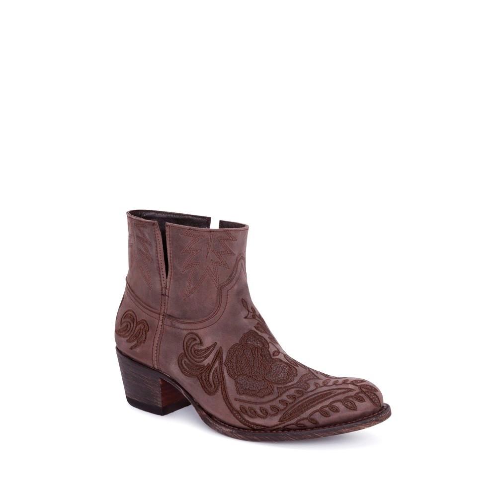Compra en Noel Western Boots estos Botines Sendra moda para mujer de piel marron con bordado de flores modelo 14643 con envíos gratis a la península clave 56601 -
