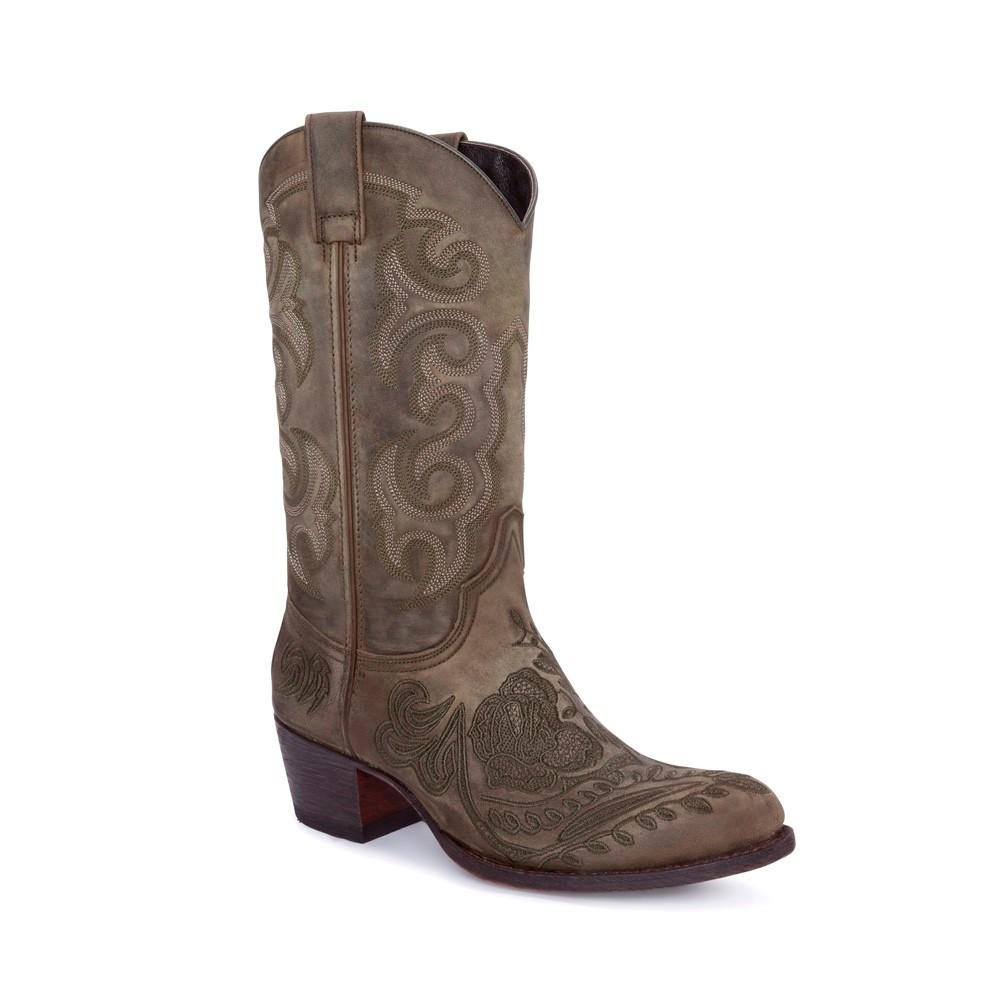 Compra en Noel Western Boots estos Botines Sendra moda para mujer en nobuck verde con bordado floral modelo 14605 con envíos gratis a la península clave 56602 -