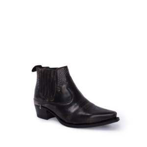Compra en Noel Western Boots estos botines Sendra Western para mujer de cuero negro con decoraciones metálicas y elásticos y con envíos gratis a la península clave 56604