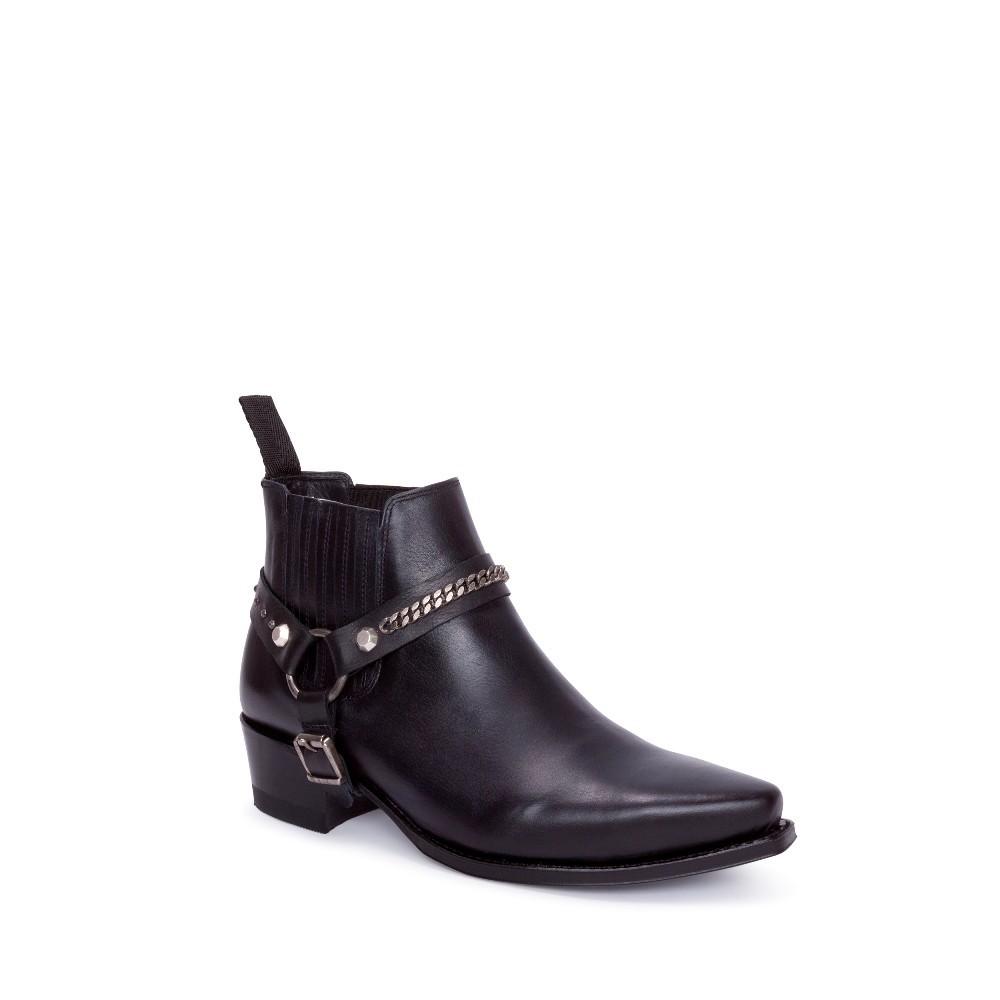 Compra en Noel Western Boots estos Botines Sendra Western para mujer de cuero negro liso con arnés y elásticos modelo 14642 con envíos gratis a la península clave 56605 -