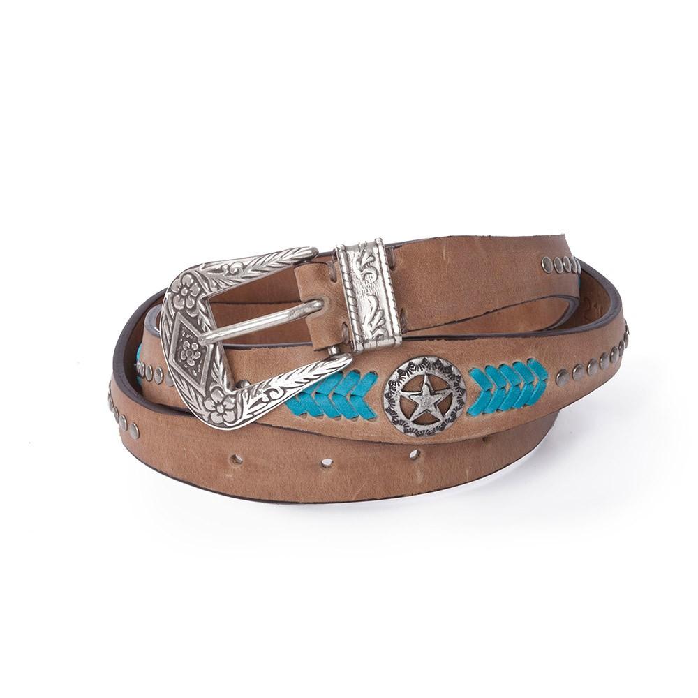 Compra en Noel Western Boots este cinturón de Sendra Boots ondulado en piel beige con decoraciones turquesa 1218 para tu estilo Cowboy, envíos gratis a península 58303 - __[GALLERYITEM]__