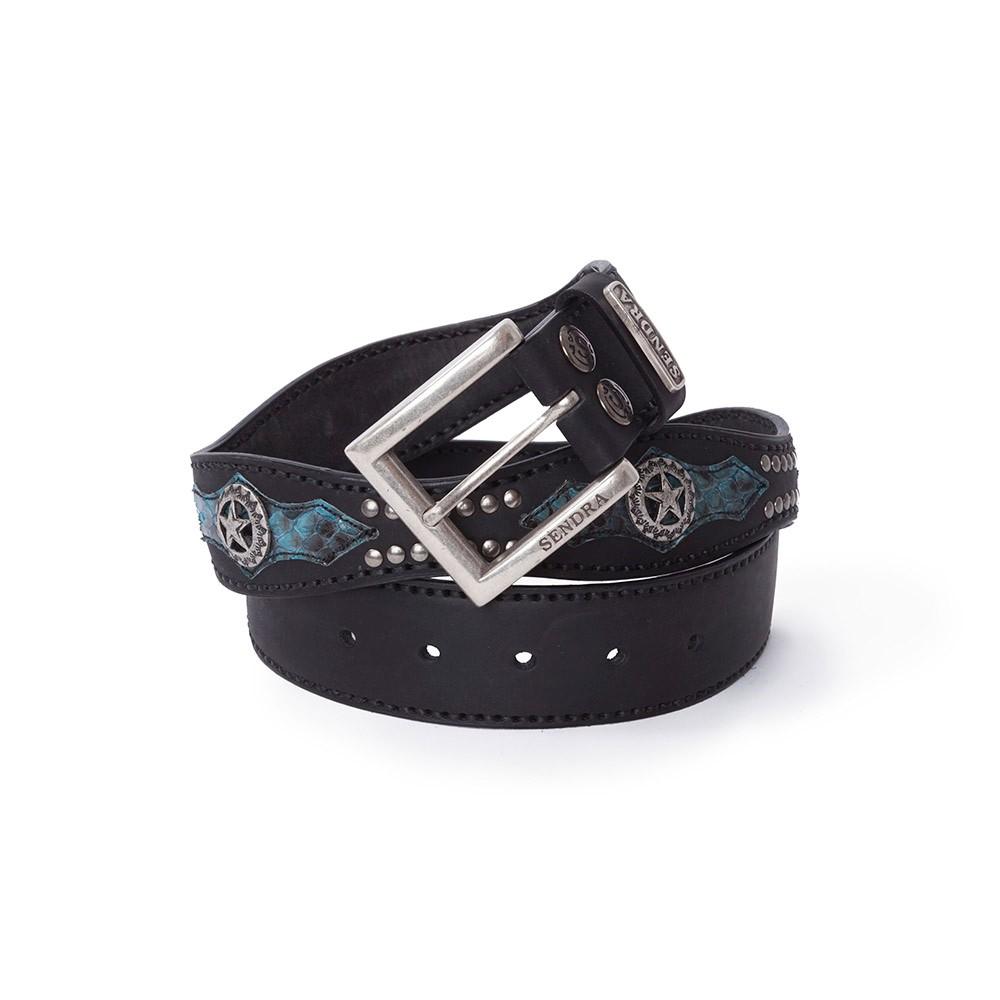 6216977d43a Cinturón Sendra 1220 ondulado en cuero negro y piel de serpiente azul