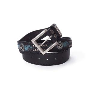 Compra en Noel Western Boots este cinturón Sendra Western ondulado de cuero negro y piel de serpiente azul modelo 1220 con envíos gratis a la península 58318