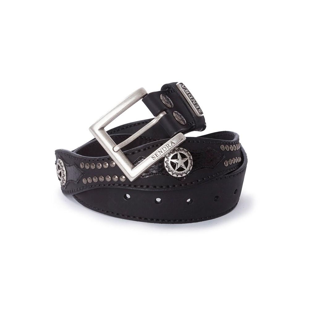 8b64ff25fbe Cinturón Sendra 1220 ondulado en cuero negro y piel de serpiente negro