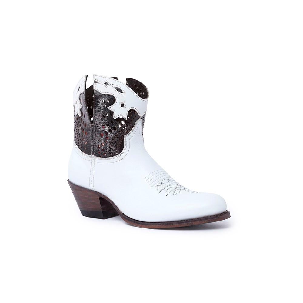 Compra en Noel Western Boots estos Botines Sendra moda para Mujer en cuero blanco y cobre con cremallera modelo 15107 con envíos gratis a península clave 58828 -