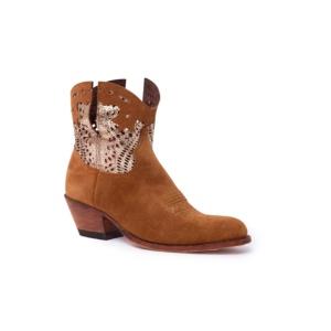 Compra en Noel Western Boots estos Botines Sendra moda para Mujer en serraje marrón y oro con cremallera modelo 15107 con envíos gratis a península clave 58829