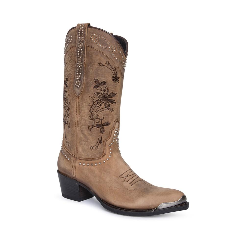 Compra en Noel Western Boots estas Botas Sendra Western para mujer de cuero beige con adornos bordados y puntera metálica con envíos gratis a la península clave 60381 -