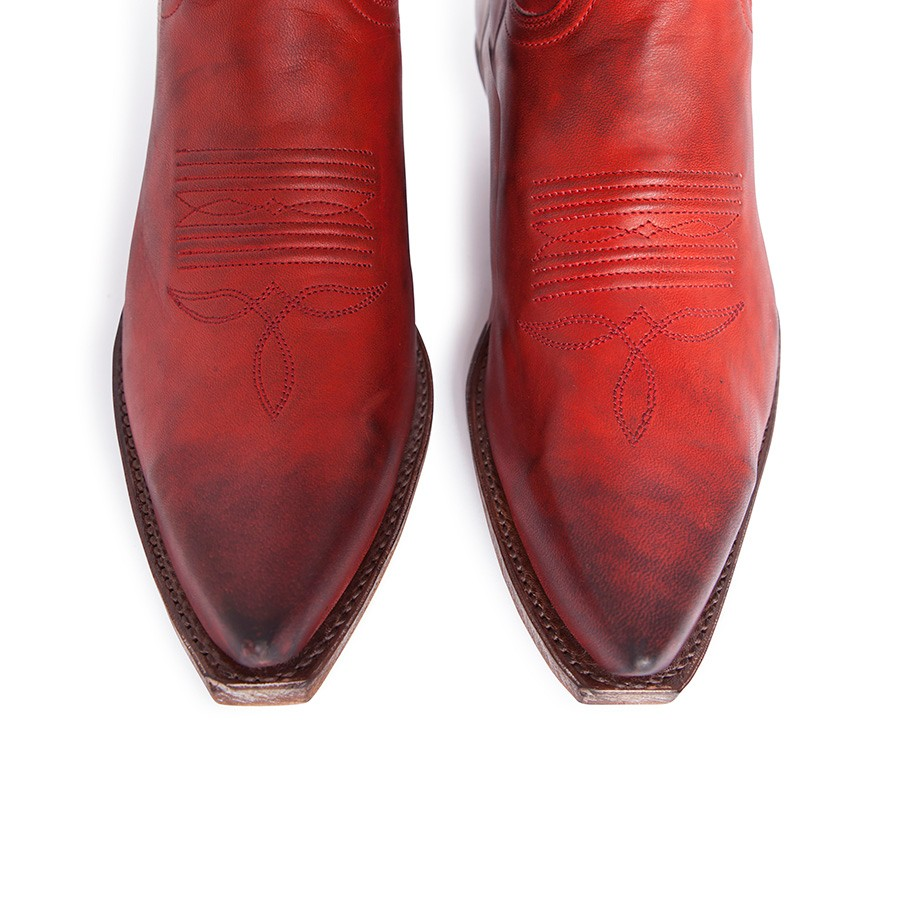 brillante en brillo liquidación de venta caliente el precio más baratas Botas Sendra 14822 Cuervo Western para mujer en cuero rojo
