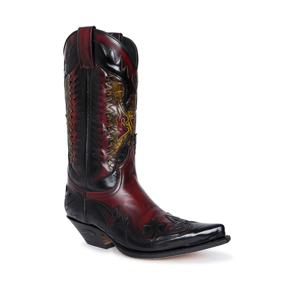 Compra en Noel Western Boots estas botas Sendra Western para hombre en cuero negro y rojo modelo 3840 horma Cuervo con envíos gratis a península clave 61157 -