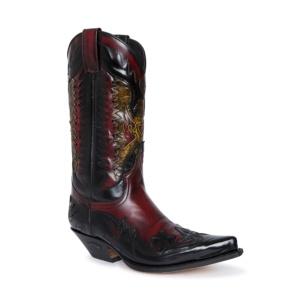 Compra en Noel Western Boots estas botas Sendra Western para hombre en cuero negro y rojo modelo 3840 horma Cuervo con envíos gratis a península clave 61157