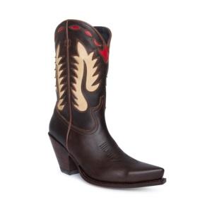 Compra en Noel Western Boots estas botas Sendra Western para mujer en cuero marrón con decoraciones en forma de llamas modelo 15351 horma Gorka y tacón alto con envíos gratis a península clave 61162