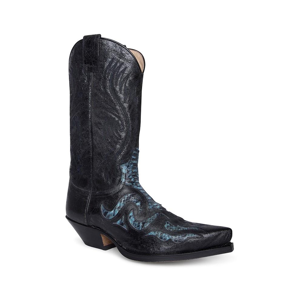 Compra en Noel Western Boots estas botas Sendra Western para hombre de cuero negro y piel de serpiente modelo 7429 con envíos gratis a la península 61168 -