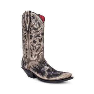 Compra en Noel Western Boots estas botas Sendra Western para mujer en cuero marfil con decoraciones florales en negro modelo 16207 horma Cuervo con envíos gratis a península clave 61391