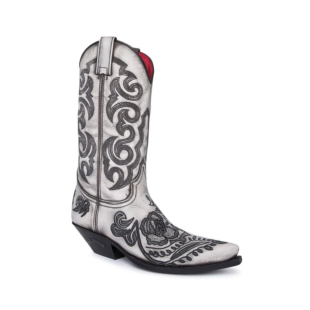 Compra en Noel Western Boots estas Botas Sendra Western para mujer de cuero blanco marfil con bordados florales en negro con envíos gratis a la península clave 61392 -