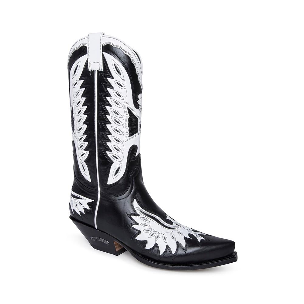 Compra en Noel Western Boots estas botas Sendra Western para mujer en cuero negro con decoraciones en forma de águila en blanco modelo 6990 horma Cuervo con envíos gratis a península clave 61394 -