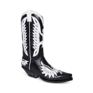 Compra en Noel Western Boots estas botas Sendra Western para mujer en cuero negro con decoraciones en forma de águila en blanco modelo 6990 horma Cuervo con envíos gratis a península clave 61394