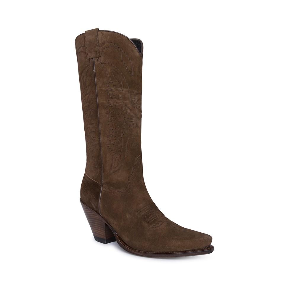 Compra en Noel Western Boots estas botas Sendra Western para mujer en serraje marrón y tacón alto modelo 7082 horma Gorka con envíos gratis a península clave 61396 -