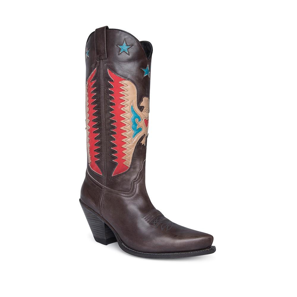 Compra en Noel Western Boots estas botas Sendra Western para mujer en cuero gris con águila roja y tacón alto modelo 16220 horma Gorka con envíos gratis a península clave 61397 -