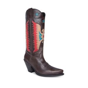 Compra en Noel Western Boots estas botas Sendra Western para mujer en cuero gris con águila roja y tacón alto modelo 16220 horma Gorka con envíos gratis a península clave 61397