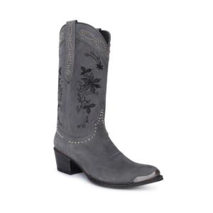 Compra en Noel Western Boots estas Botas Sendra Western para mujer de cuero gris con adornos bordados y puntera metálica con envíos gratis a la península clave 60398