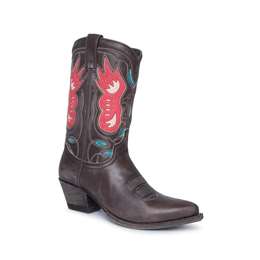 Compra en Noel Western Boots estas Botas Sendra Western para mujer de cuero gris con águila roja en la caña con envíos gratis a la península clave 61399 -