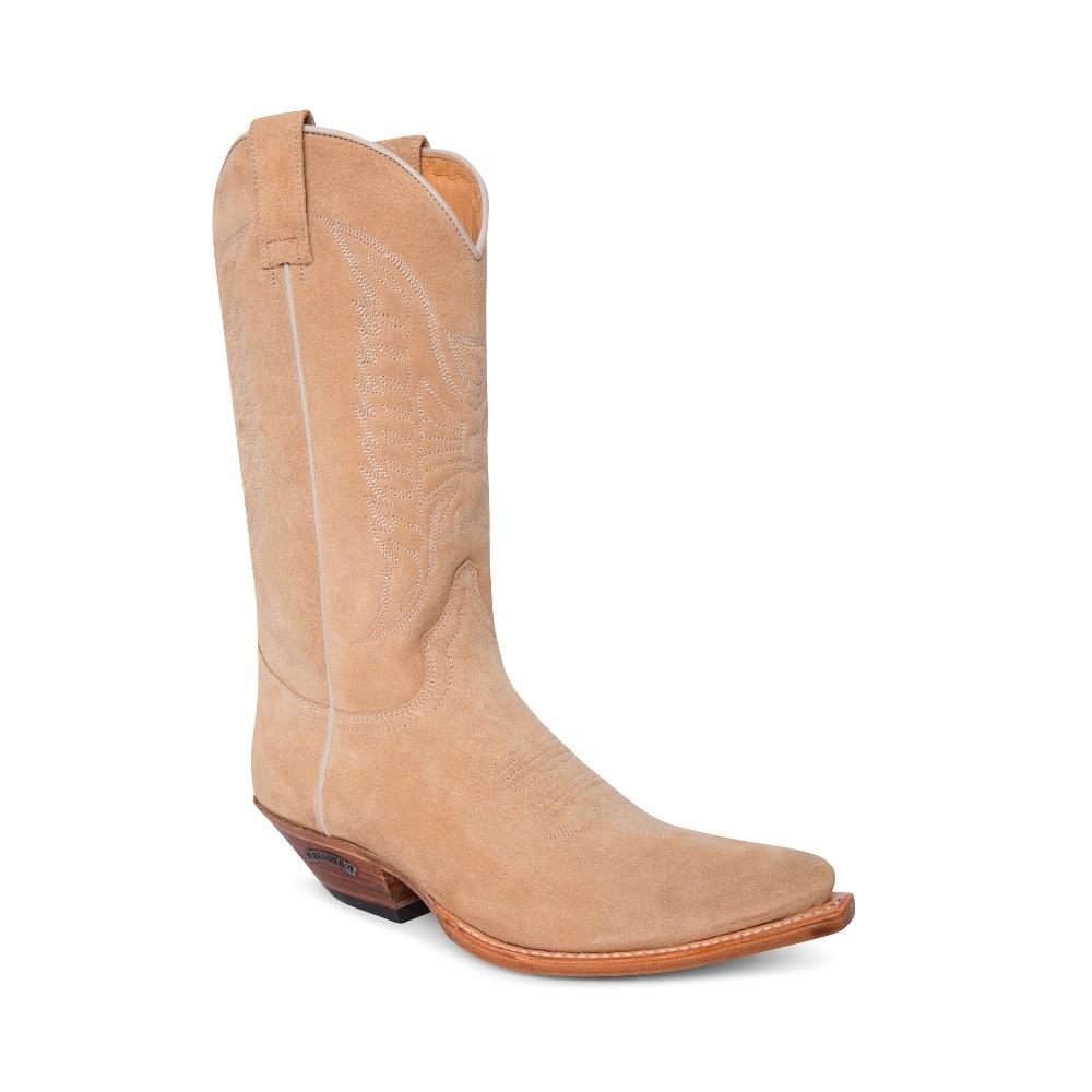 Compra en Noel Western Boots estas botas Sendra Western para mujer en serraje beige claro y bordado a tono modelo 2073 horma Cuervo con envíos gratis a península clave 63488 -