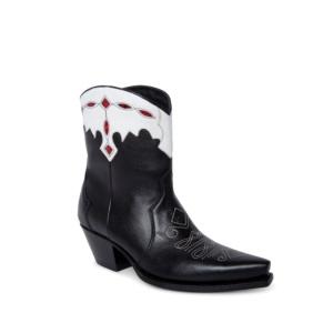 Compra en Noel Western Boots estos botines Sendra Western para mujer en cuero negro y blanco con detalles en piel de serpiente horma Judy con envíos gratis a península clave 63749