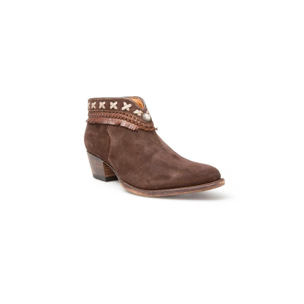 Compra en Noel Western Boots estos Botines Sendra Moda para mujer de serraje marrón con pasados y flecos modelo 12434 con envíos gratis a la península 7702 -