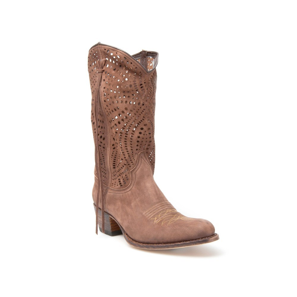 mejores ofertas en completo en especificaciones en venta Botas Sendra 12600 Debora Moda para mujer en cuero marrón caña troquelada